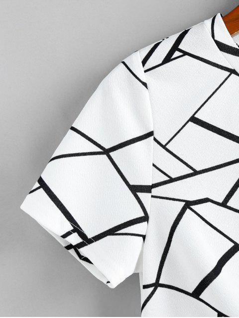ZAFUL T-shirt Court Géométrique Tordu - Blanc M Mobile