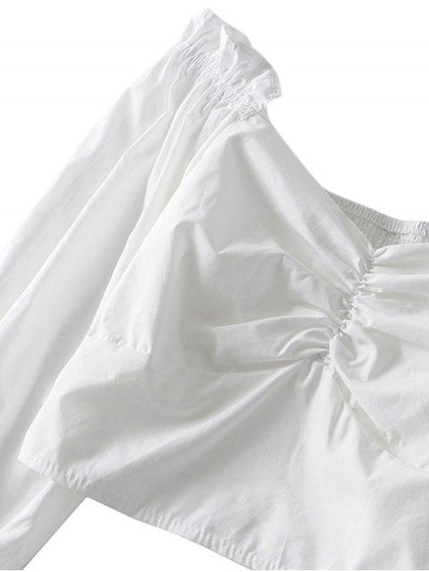 latest Ruched Smocked Back Solid Crop Blouse - WHITE S Mobile