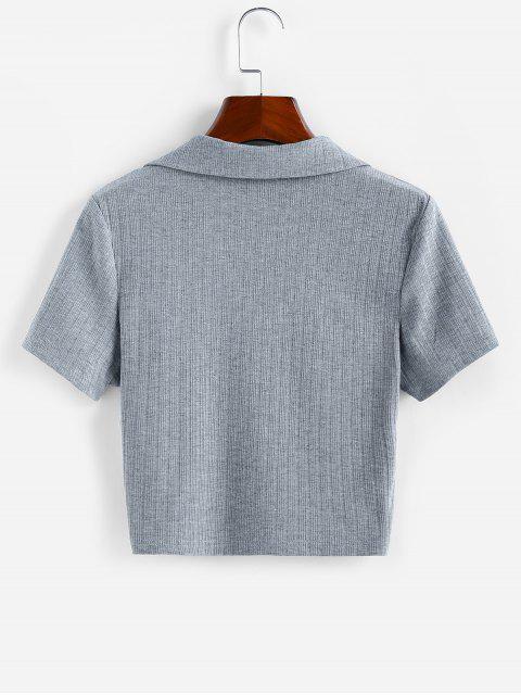 ZAFUL T-shirt Entalhado com Nervuras Cortado - Cinzento Escuro L Mobile