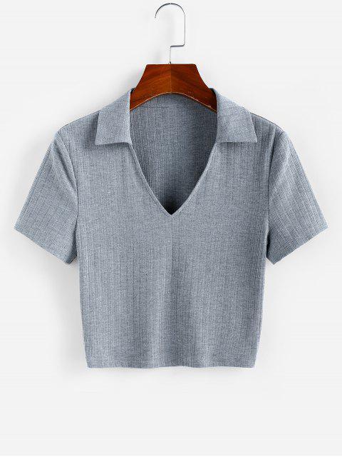 ZAFUL T-shirt Court Côtelé à Col V - Gris Foncé M Mobile