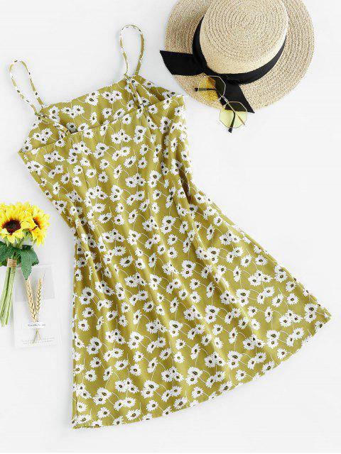 ZAFUL Mini Cami Kleid mit Blumenmuster - Grüne Avocado M Mobile