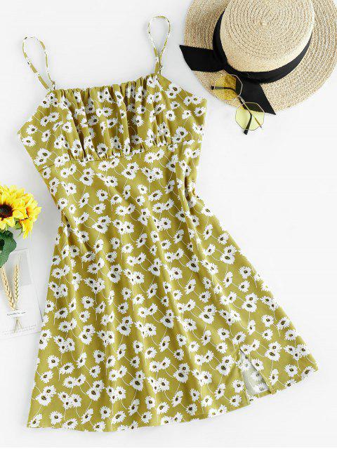 fashion ZAFUL Floral Mini Cami Dress - AVOCADO GREEN S Mobile
