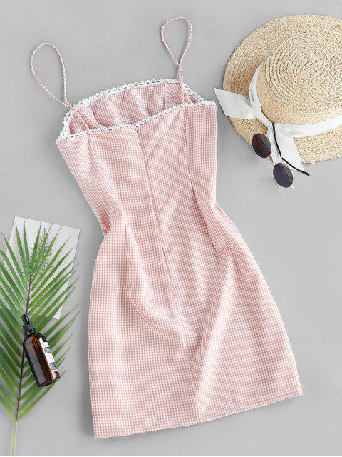 ZAFUL Kariertes Mini Cami Kleid - Orange Rosa L Mobile