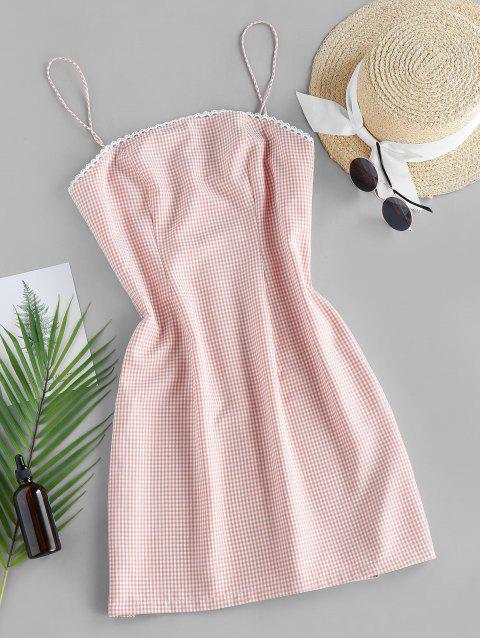 shop ZAFUL Checked Mini Cami Dress - ORANGE PINK S Mobile