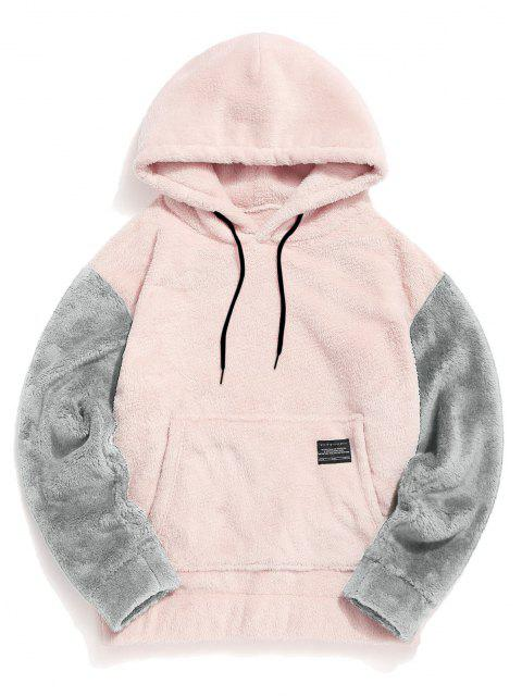 affordable Color-blocking Pouch Pocket Fluffy Hoodie - PINK S Mobile