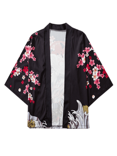 Floral Flying Crane Sea Waves Print Open Front Kimono Cardigan