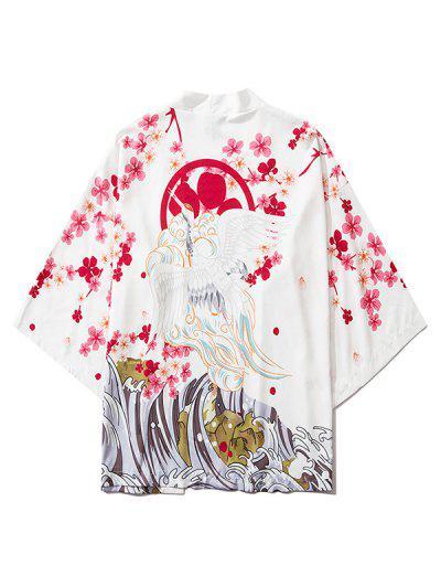 Floral Flying Crane Sea Waves Print Open Front Kimono Cardigan - White 2xl