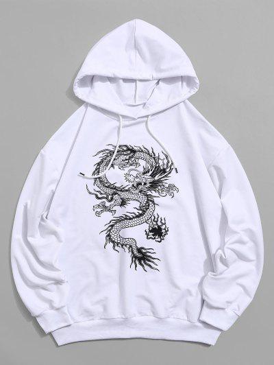 Dragon Graphic Drawstring Loose Hoodie - White Xl