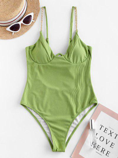 Chain Ribbed Underwire One piece Swimsuit