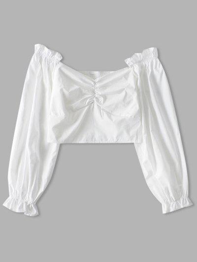 Geraffte Kittel Einfarbige Crop Bluse - Weiß M