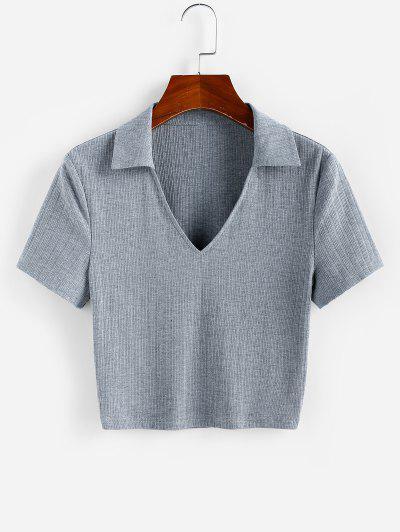 ZAFUL T-shirt Court Côtelé à Col V - Gris Foncé S