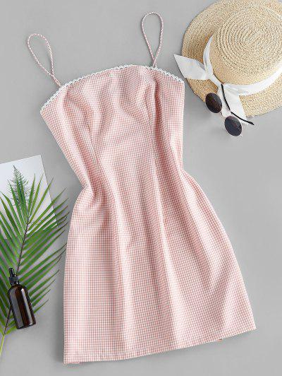 ZAFUL Checked Mini Cami Dress - Orange Pink S
