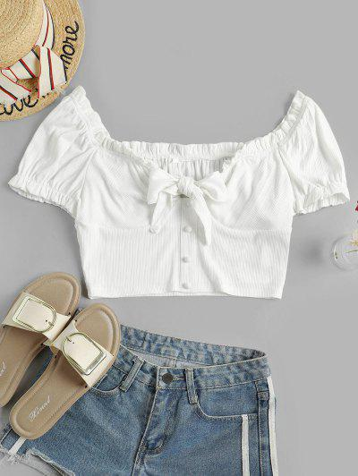 ZAFUL Frilled Ribbed Knotted Milkmaid Crop Tee - Milk White M