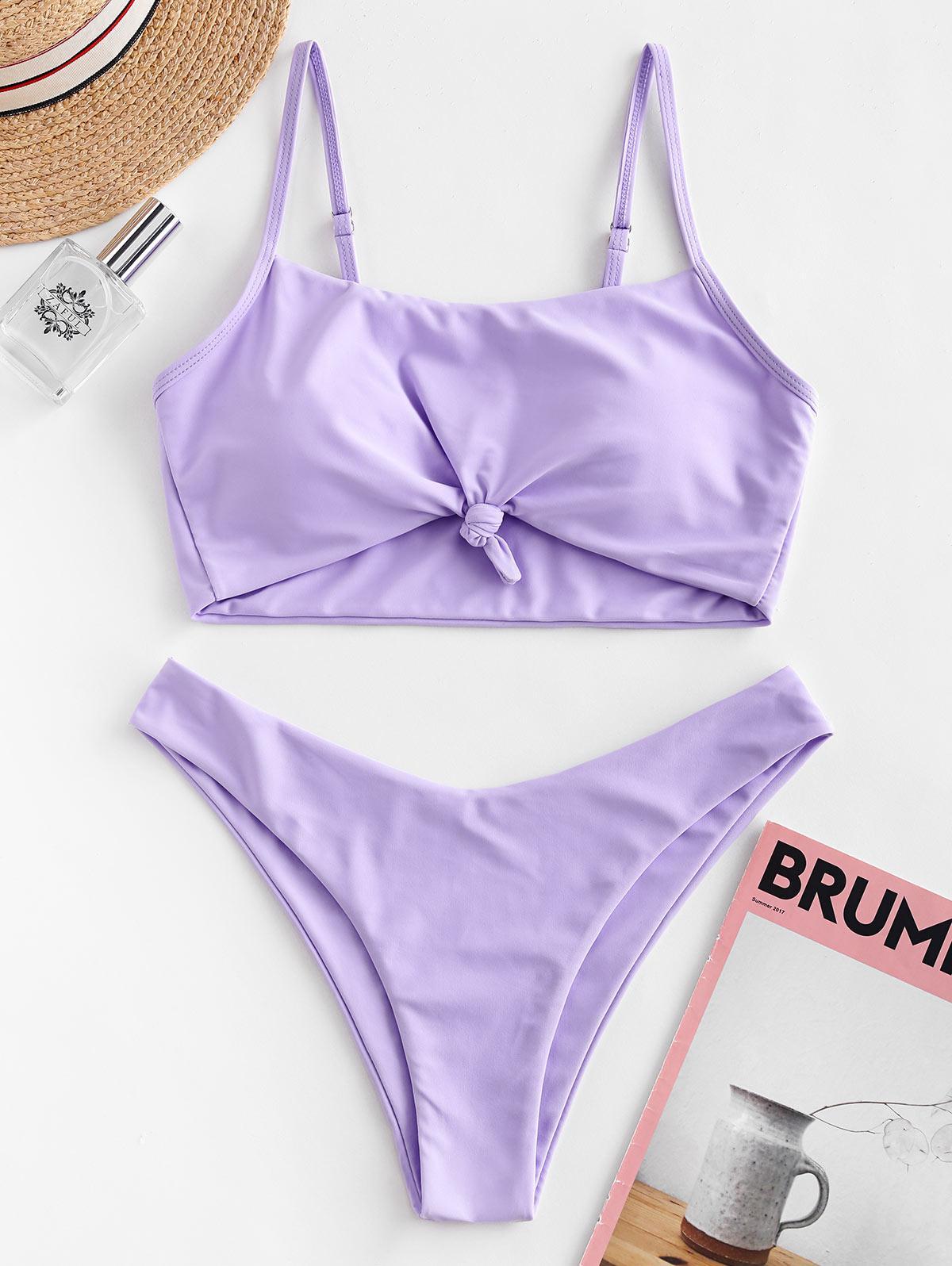 Zaful coupon: ZAFUL Knotted High Leg Bikini Swimsuit
