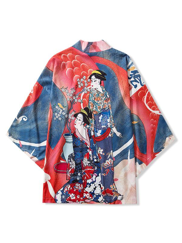 Floral Beauty Character Letter Print Casual Kimono Cardigan фото