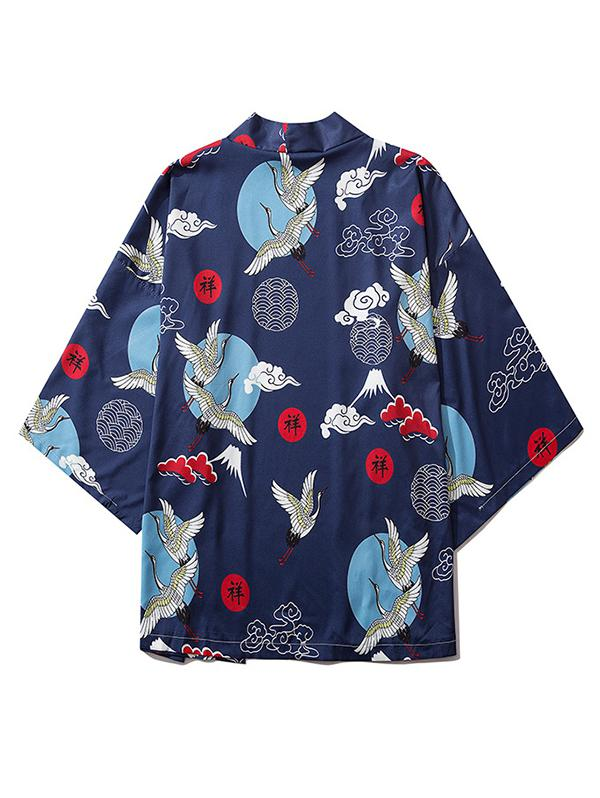 Flying Crane Cloud Letter Print Open Front Kimono Cardigan фото