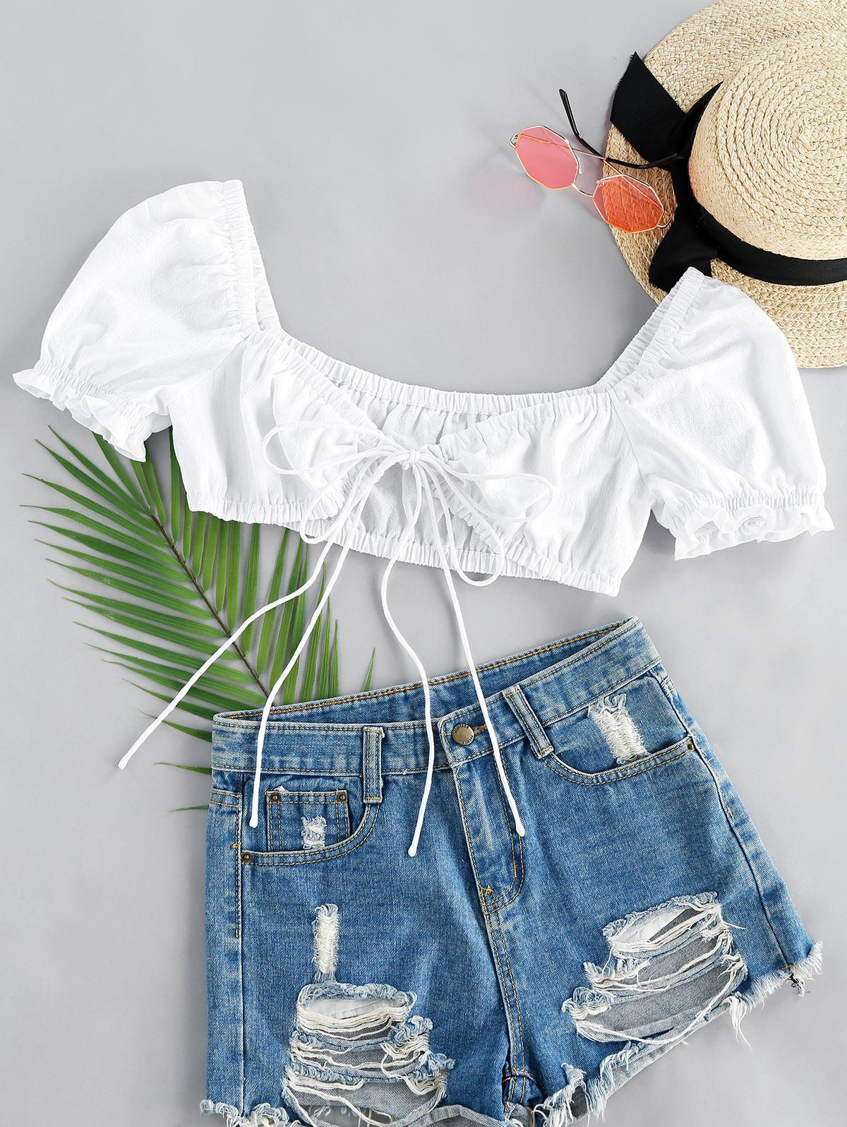 ZAFUL Front Tie Puff Sleeve Crop Top