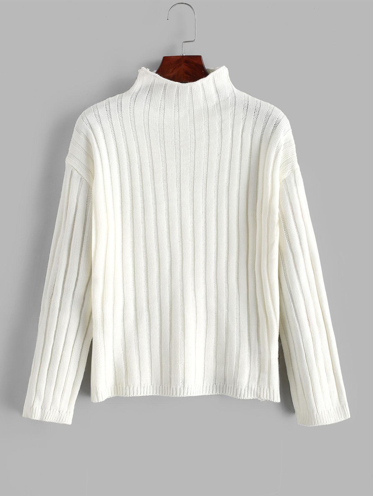 Drop Shoulder Mock Neck Basic Jumper Sweater