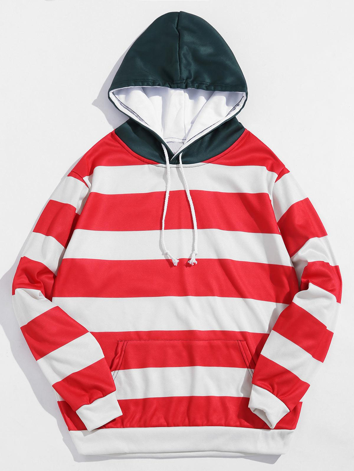 Color Blocking Stripes Print Fleece Hoodie фото