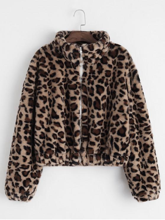fashion ZAFUL Zip Front Leopard Fluffy Faux Fur Coat - LEOPARD M
