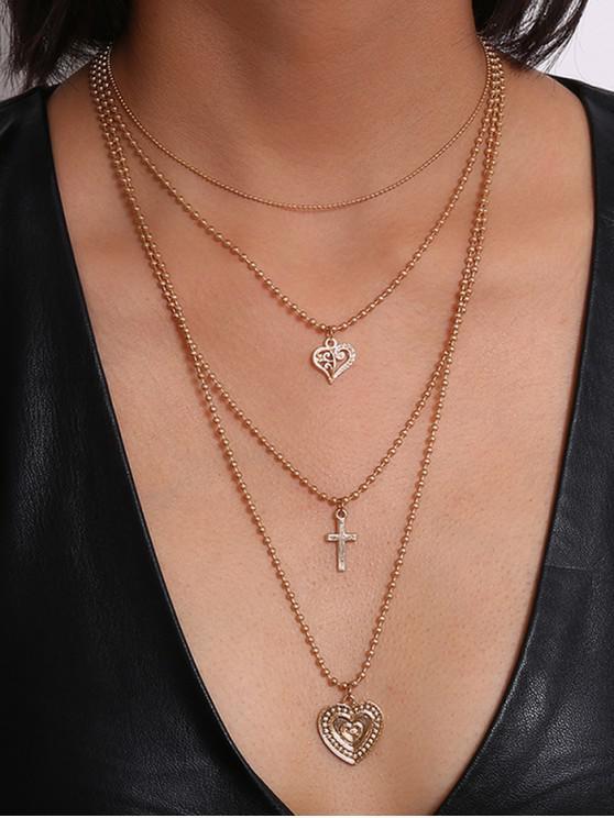 多層心十字串珠項鍊 - 金