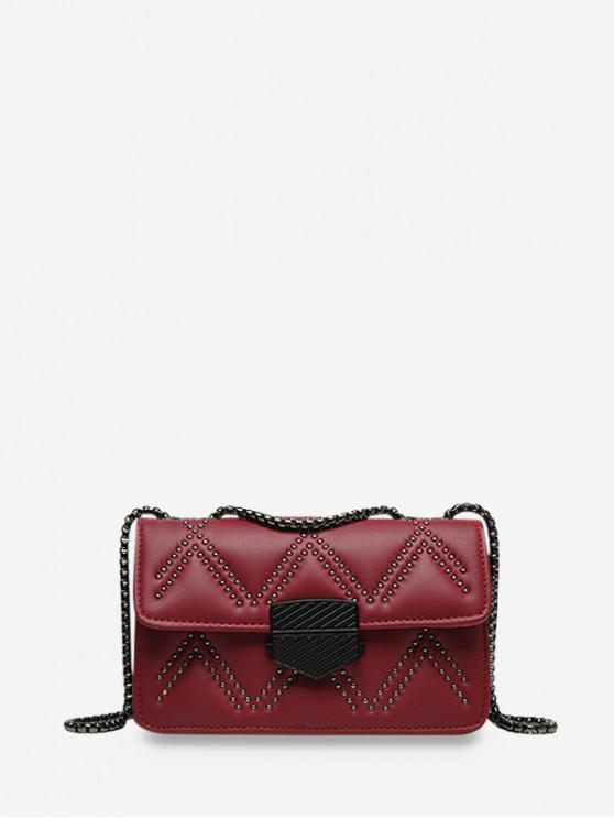 ladies Zigzag Studded Flap Chain Crossbody Bag - FIREBRICK