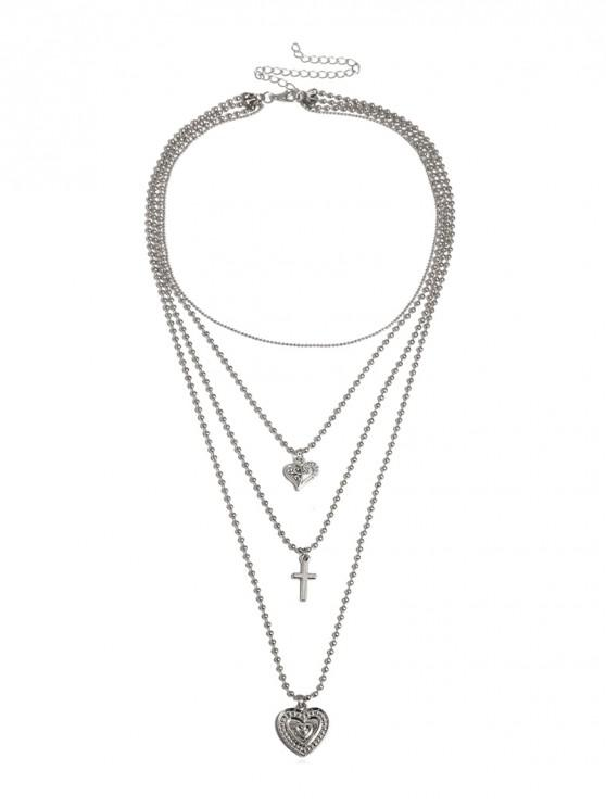 lady Multilayered Heart Cross Beaded Chain Necklace - SILVER