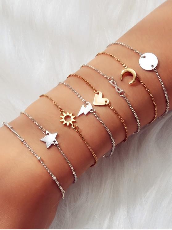 8件月亮太陽星幾何鏈手鍊套裝 - 金