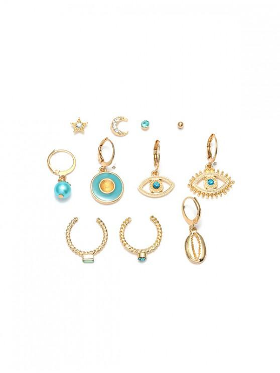outfits 11Pcs Hollow Eye Moon Earrings Set - GOLD