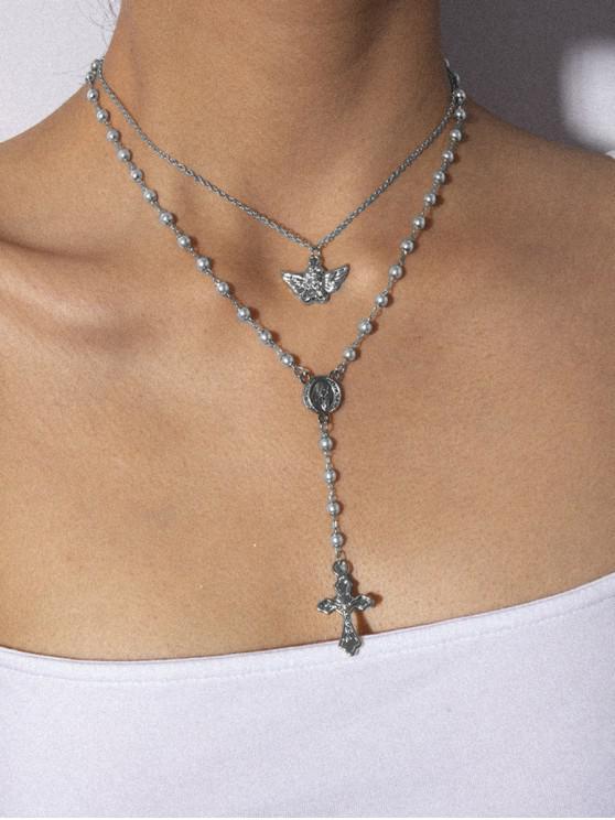 ملاك الصليب طبقة مزدوجة فو عقد من اللؤلؤ - فضة