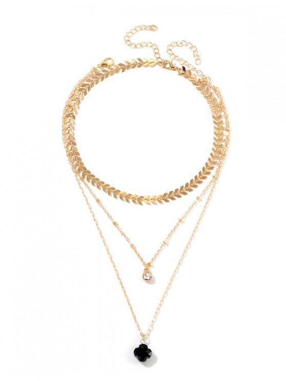 زهرة السهم سلسلة متعدد الطبقات قلادة - ذهب