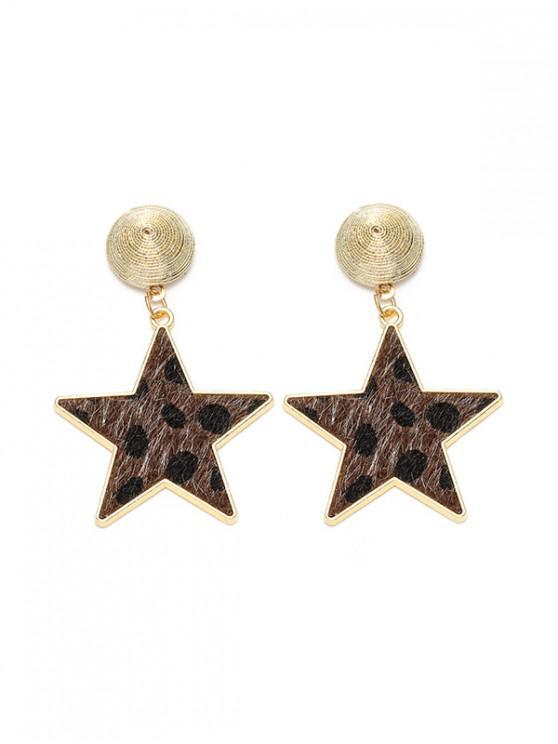 women Star Shape Leopard Drop Earrings - BROWN