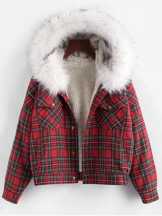 lady ZAFUL Plaid Faux Fur Hooded Pocket Teddy Jacket - MULTI-D M
