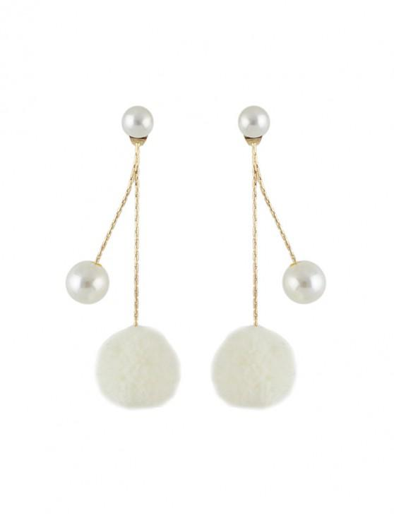 best Faux Pearl Fuzzy Ball Drop Earrings - WHITE