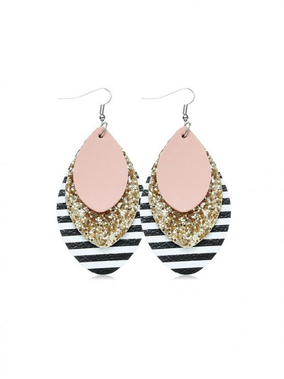 online Faux Leather Stripe Layered Hook Earrings - PINK