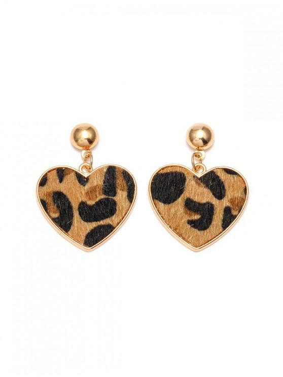 hot Leopard Heart Shape Drop Earrings - TAN