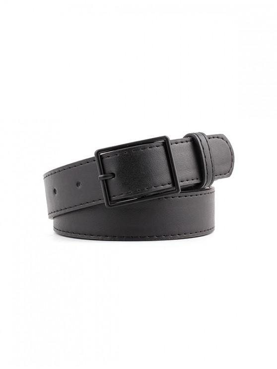 皮革簡約休閒扣皮帶 - 黑色