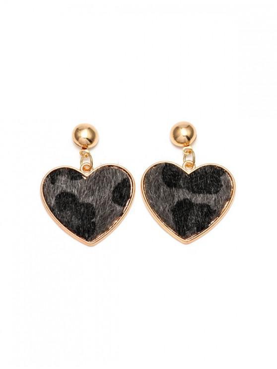 shop Leopard Heart Shape Drop Earrings - GRAY
