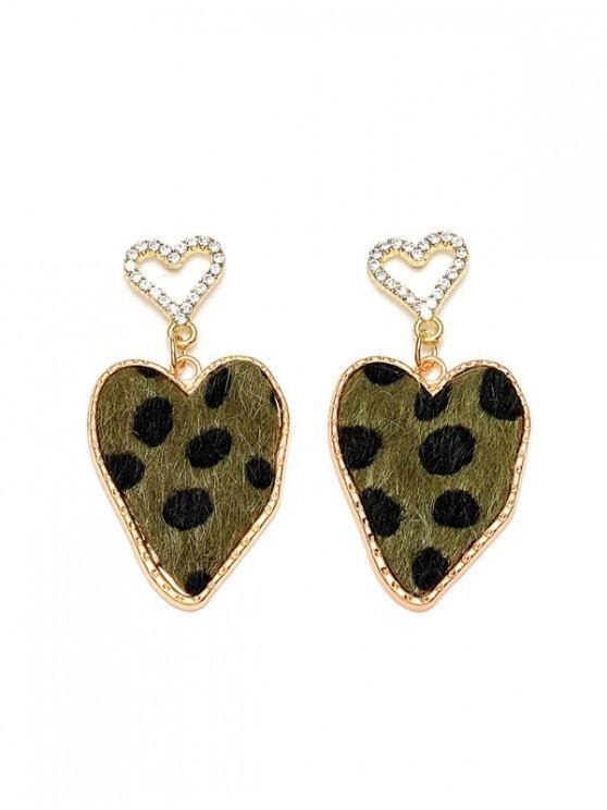 latest Spot Heart Hollow Rhinestone Drop Earrings - FERN GREEN