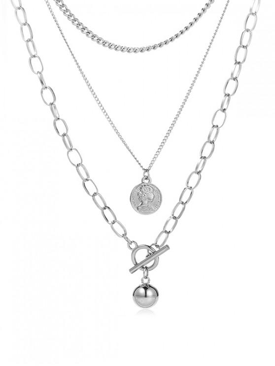 trendy Valentine Multilayer Pendant Chain Necklaces - SILVER