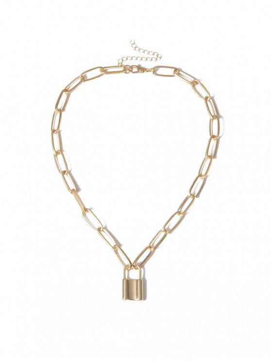 fashion Punk Style Lock Pendant Necklace - GOLD