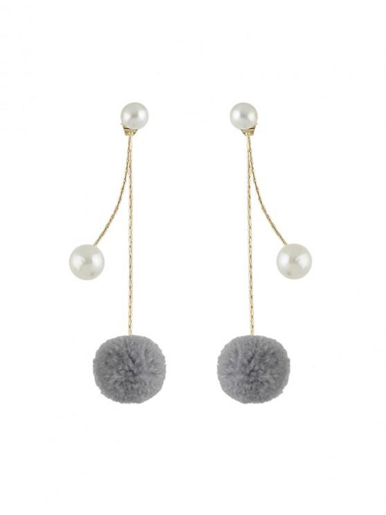 fancy Faux Pearl Fuzzy Ball Drop Earrings - CARBON GRAY