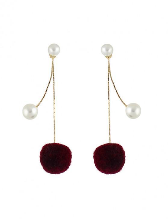 sale Faux Pearl Fuzzy Ball Drop Earrings - RED WINE