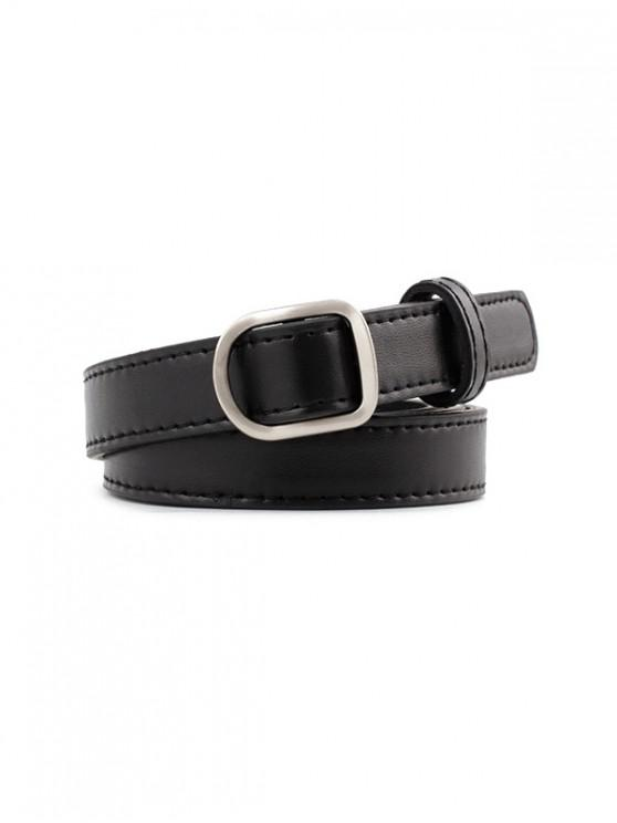 affordable Casual Buckle Leather Simple Belt - BLACK