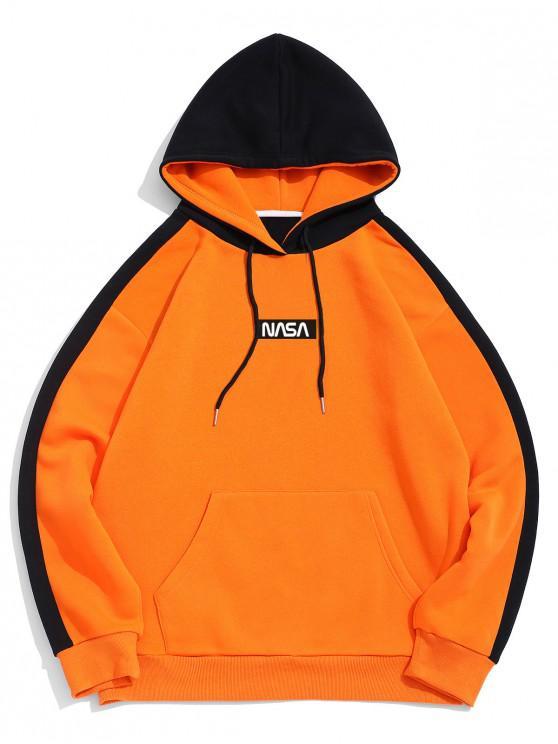 ZAFUL文字柄 二つのトーン フロント ポケット フリース パーカー - オレンジ S