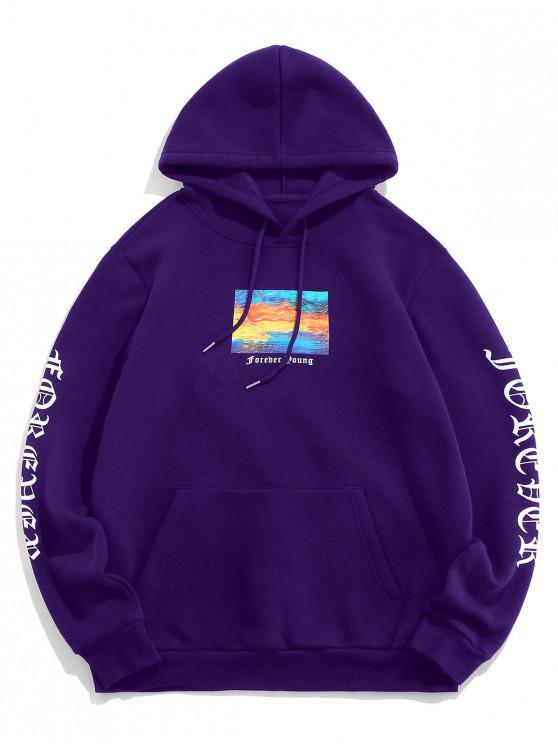 Popular Sale Graphic Letter Pattern Kangaroo Pocket Design Hoodie   Purple Iris S by Zaful