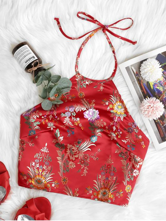 lady ZAFUL Oriental Smocked Back Halter Floral Jacquard Crop Top - RED M