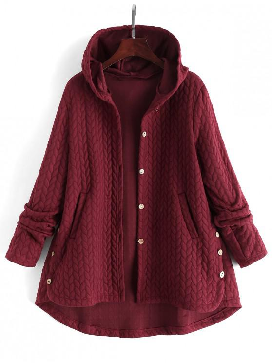 women Textured Buttoned Hooded High Low Coat - RED WINE 2XL