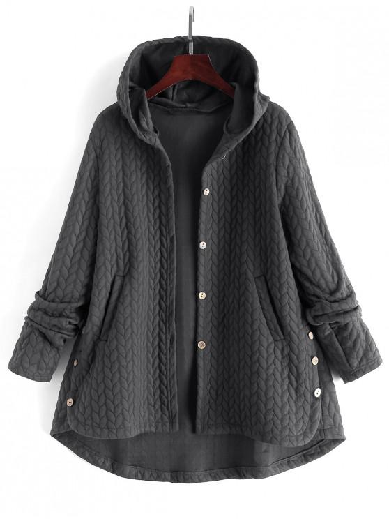 hot Textured Buttoned Hooded High Low Coat - GRAY M