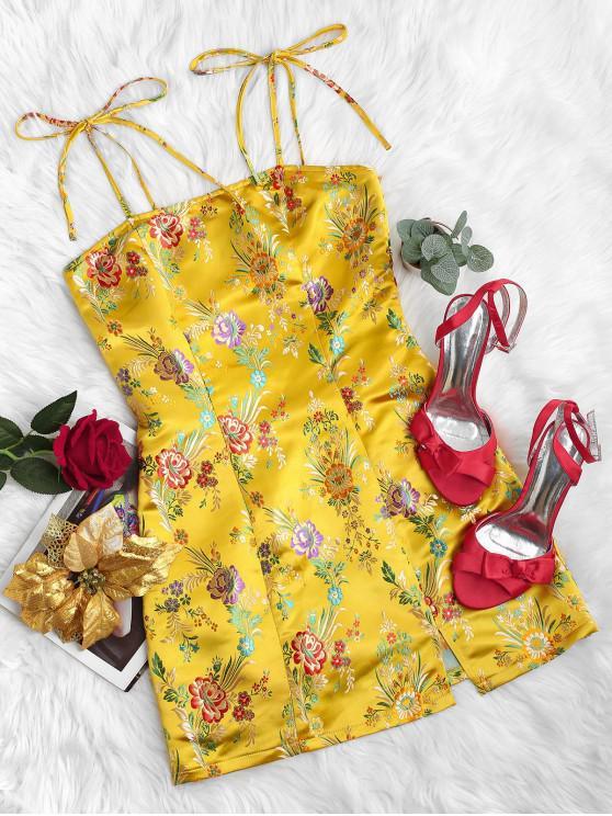 trendy ZAFUL Tie Shoulder Oriental Floral Jacquard Slit Cami Dress - YELLOW XL